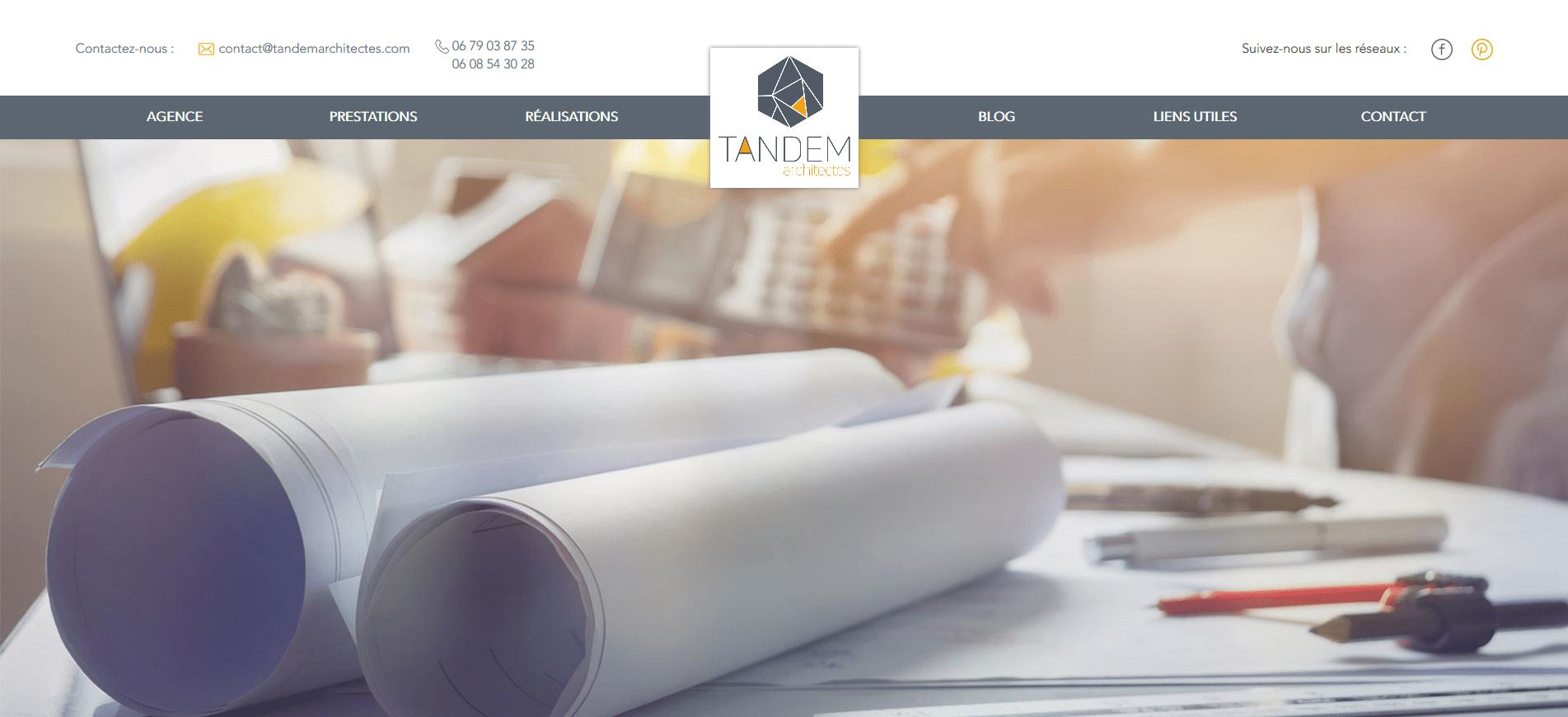 tandem architectes site internet web studios
